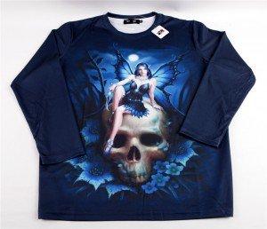 """T-shirt gothique Black Sugar motif """"Fée/Elfe de la nuit"""" , 29€."""
