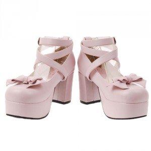 Chaussures Lolita Baby Doll, nœud amovible, hauteur talon 8 cm. Existe aussi en blanc, noir, argenté, rouge, violet, vert et jaune. REF: 9812, 59€.